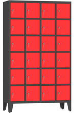 00150501 Szafa skrytkowa na nogach, 4 segmenty, 24 skrytki (wymiary: 2010x1190x480 mm)