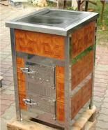 00350298 Piec grzewczy na węgiel 8kW Duży, drzwi chrom (kaflowy)