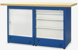 00853682 Stół warsztatowy, 1 drzwi, 4 szuflady (wymiary: 1500x900x740 mm)
