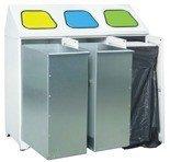 00853981 Metalowy pojemnik na odpady 3-komorowy, 2 kosze metalowe, 1 obejma do worków (wymiary: 1072x1065x450 mm)