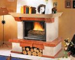 03356612 Obudowa z marmuru patynowanego z belką dębową Bergamo do wkładów żeliwnych standardowych