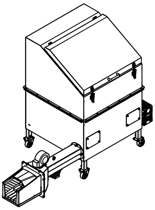 06652845 Automatyczny podajnik do spalania biomasy 1m3 400V 60kW, głowica: żeliwna (paliwo: trociny, wióry, zrębki, kora, brykiet, agrobrykiet, pellet, pestki owoców)