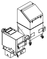 06652963 Automatyczny zestaw do spalania biomasy 2m3 400V 30kW, głowica: żeliwna, z systemem usuwania popiołu (paliwo: trociny, wióry, zrębki, kora, brykiet, agrobrykiet, pellet, pestki owoców)