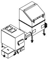06652968 Automatyczny zestaw do spalania biomasy 1m3 400V 60kW, głowica: żeliwna, bez systemu usuwania popiołu (paliwo: trociny, wióry, zrębki, kora, brykiet, agrobrykiet, pellet, pestki owoców)