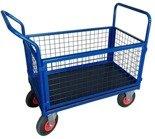 13340621 Wózek platformowy ręczny osiatkowany OS (koła: pneumatyczne 225 mm, nośność: 250 kg, wymiary: 1000x600x450 mm)