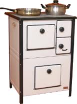 25921556 Kuchnia węglowa 7,5kW MINI II z płaszczem wodnym, wylot spalin z boku z lewej strony (kolor: biały)