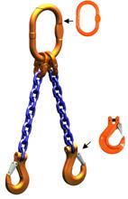 33948215 Zawiesie łańcuchowe dwucięgnowe klasy 10 miproSling HCS 14,0/10,0 (długość łańcucha: 1m, udźwig: 10-14 T, średnica łańcucha: 16 mm, wymiary ogniwa: 200x110 mm)