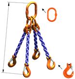 33948235 Zawiesie łańcuchowe czterocięgnowe klasy 10 miproSling HCS 40,0/28,0 (długość łańcucha: 1m, udźwig: 28-40 T, średnica łańcucha: 22 mm, wymiary ogniwa: 350x190 mm)