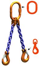 33948262 Zawiesie łańcuchowe dwucięgnowe klasy 10 miproSling WLHW 9,5/6,7 (długość łańcucha: 1m, udźwig: 6,7-9,5 T, średnica łańcucha: 13 mm, wymiary ogniwa: 180x100 mm)