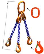 33948265 Zawiesie łańcuchowe trzycięgnowe klasy 10 miproSling KHSW 14,0/10,0 (długość łańcucha: 1m, udźwig: 10-14 T, średnica łańcucha: 13 mm, wymiary ogniwa: 200x110 mm)