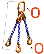 33948272 Zawiesie łańcuchowe trzycięgnowe klasy 10 miproSling A8W 40,0/28,0 (długość łańcucha: 1m, udźwig: 28-40 T, średnica łańcucha: 22 mm, wymiary ogniwa: 350x190 mm)