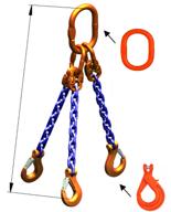 33948273 Zawiesie łańcuchowe trzycięgnowe klasy 10 miproSling KLHW 8,0/6,0 (długość łańcucha: 1m, udźwig: 6-8 T, średnica łańcucha: 10 mm, wymiary ogniwa: 180x100 mm)