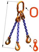 33948283 Zawiesie łańcuchowe trzycięgnowe klasy 10 miproSling WLHW 4,0/2,8 (długość łańcucha: 1m, udźwig: 2,8-4 T, średnica łańcucha: 7 mm, wymiary ogniwa: 160x90 mm)
