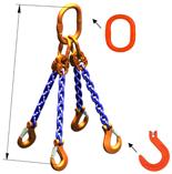 33948305 Zawiesie łańcuchowe czterocięgnowe klasy 10 miproSling KFW 21,2/15,0 (długość łańcucha: 1m, udźwig: 15-21,2 T, średnica łańcucha: 16 mm, wymiary ogniwa: 260x140 mm)