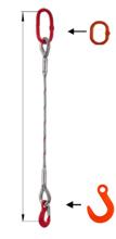 33948345 Zawiesie linowe jednocięgnowe miproSling FW 21,00 (długość liny: 1m, udźwig: 21 T, średnica liny: 44 mm, wymiary ogniwa: 275x150 mm)