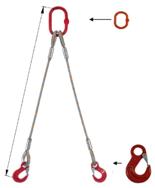 33948365 Zawiesie linowe dwucięgnowe miproSling HE 15,0/11,0 (długość liny: 1m, udźwig: 11-15 T, średnica liny: 32 mm, wymiary ogniwa: 275x150 mm)