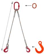 33948381 Zawiesie linowe dwucięgnowe miproSling FW 40,0/29,0 (długość liny: 1m, udźwig: 29-40 T, średnica liny: 52 mm, wymiary ogniwa: 400x200 mm)
