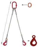 33948383 Zawiesie linowe dwucięgnowe miproSling LE 15,0/11,0 (długość liny: 1m, udźwig: 11-15 T, średnica liny: 32 mm, wymiary ogniwa: 275x150 mm)