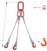 33948421 Zawiesie linowe trzycięgnowe miproSling FW 13,5/9,4 (długość liny: 1m, udźwig: 9,4-13,5 T, średnica liny: 24 mm, wymiary ogniwa: 230x130 mm)