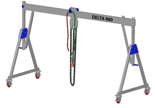 33960058 Wciągarka bramowa aluminiowa z możliwością przejazdu pod obciążeniem, z wózkiem pchanym i wciągnikiem łańcuchowym miproCrane DELTA 600M (udźwig: 1000 kg, szerokość: 4100 mm, wysokość: 2110/2510 mm)