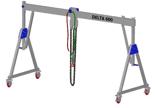 33960059 Wciągarka bramowa aluminiowa z możliwością przejazdu pod obciążeniem, z wózkiem pchanym i wciągnikiem łańcuchowym miproCrane DELTA 600M (udźwig: 1500 kg, szerokość: 4100 mm, wysokość: 2110/2510 mm)
