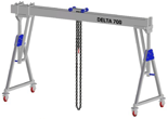 33960091 Wciągarka bramowa aluminiowa z możliwością przejazdu pod obciążeniem, z wózkiem pchanym i wciągnikiem łańcuchowym miproCrane DELTA 700H (udźwig: 1500 kg, szerokość: 6100 mm, wysokość: 2920/4220 mm)