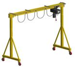 33962102 Wciągarka bramowa skręcana miproCrane DELTA 300, wciągnik łańcuchowy elektryczny zintegrowany z wózkiem + kaseta sterująca (udźwig: 1500 kg, rozpiętość: 4500 mm, wysokość podnoszenia: 3000 mm)