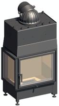 52232465 Wkład kominkowy 14,9kW Schmid Ekko W L 6751 z płaszczem wodnym, wysokość fasady: 510mm (lewa boczna szyba)