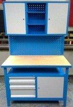 77156918 Stół warsztatowy + nadbudowa wysoka, 3 szuflady, 3 szafki (wymiary: 1200x600x1800 mm)
