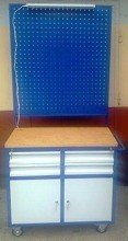 77157350 Wózek narzędziowy z tablicą i oświetleniem, 4 szuflady, 2 szafki (wymiary: 900x500x900/1800 mm)