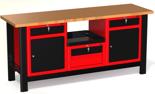 87853461 Stół warsztatowy z szafką, 4 szuflady, 2 drzwi - blat ze sklejki (wymiary: 1960x890x600 mm)