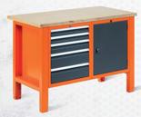99551605 Stół warsztatowy, 5 szuflad, 1 drzwi (wymiary: 850-900x1245x620 mm)