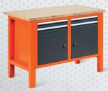 99551609 Stół warsztatowy, 4 szuflady, 2 drzwi (wymiary: 850-900x1245x620 mm)