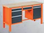 99551622 Stół warsztatowy, 6 szuflad, 1 drzwi (wymiary: 850-900x1765x620 mm)