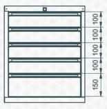 99551633 Szafka typ K, 5 szuflad (wymiary: 625x520x550 mm)