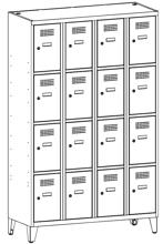 99552029 Szafka ze schowkami 0,5mm na nóżkach, 16 drzwi (wymiary: 1940x1200x500 mm)