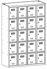 99552036 Szafka ze schowkami 0,5mm, 20 drzwi (wymiary: 1800x1200x500 mm)