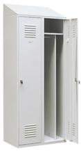 99552196 Szafka ubraniowa 0,8mm ze skośnym daszkiem, zamek na kłódkę, 2 drzwi (wymiary: 2000x800x490 mm)