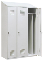 99552201 Szafka ubraniowa 0,8mm ze skośnym daszkiem, zamek ryglujący drzwi w 3 punktach, 3 drzwi (wymiary: 2000x1200x490 mm)