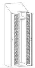 99552216 Szafka ubraniowa perforowana ze skośnym daszkiem, zamek na kłódkę, 2 drzwi (wymiary: 2000x800x490 mm)
