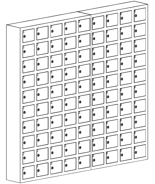 99552422 Szafka na komórki, 90 skrytkowa (wymiary: 1530x1650x200 mm)