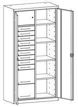 99552498 Szafa warsztatowa, 4 półki, 11 szuflad (wymiary: 1950x1000x500 mm)