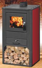 99650350 Piec wolnostojący 8-9kW na drewno i węgiel (kolor: czerwony)