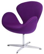 99851031 Fotel Cup inspirowany projektem Swan kaszmir (kolor: fioletowy)