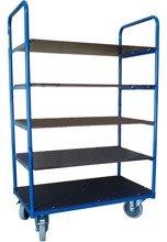 DOSTAWA GRATIS! 13367477 Wózek platformowy magazynowy pięciopółkowy, wysoki 1500mm (koła: pełna guma 160 mm, nośność: 250 kg, wymiary: 850x500 mm)
