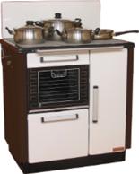 DOSTAWA GRATIS! 25942765 Kuchnia węglowa 9,2kW KATARZYNA z wężownicą, wylot spalin z tyłu z lewej strony (kolor: biały i brązowy)
