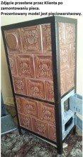 DOSTAWA GRATIS! 92248840 Piec grzewczy kaflowy 9,5kW Retro pięciowarstwowy na drewno i węgiel (kolor: brąz, wysokość: 122cm)