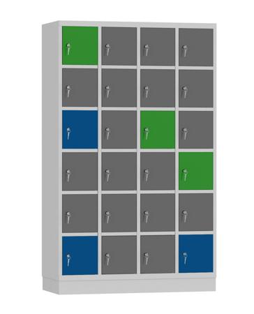 00141899 Szafa skrytkowa, 4 segmenty, 24 skrytki (wymiary: 1950x1190x480 mm)