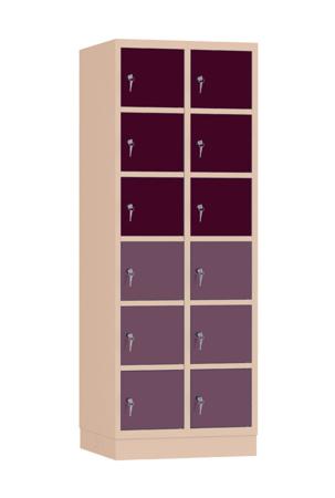 00141909 Szafa skrytkowa, 2 segmenty, 12 skrytek (wymiary: 1950x710x480 mm)
