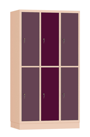 00141910 Szafa skrytkowa, 3 segmenty, 6 skrytek (wymiary: 1950x1050x480 mm)